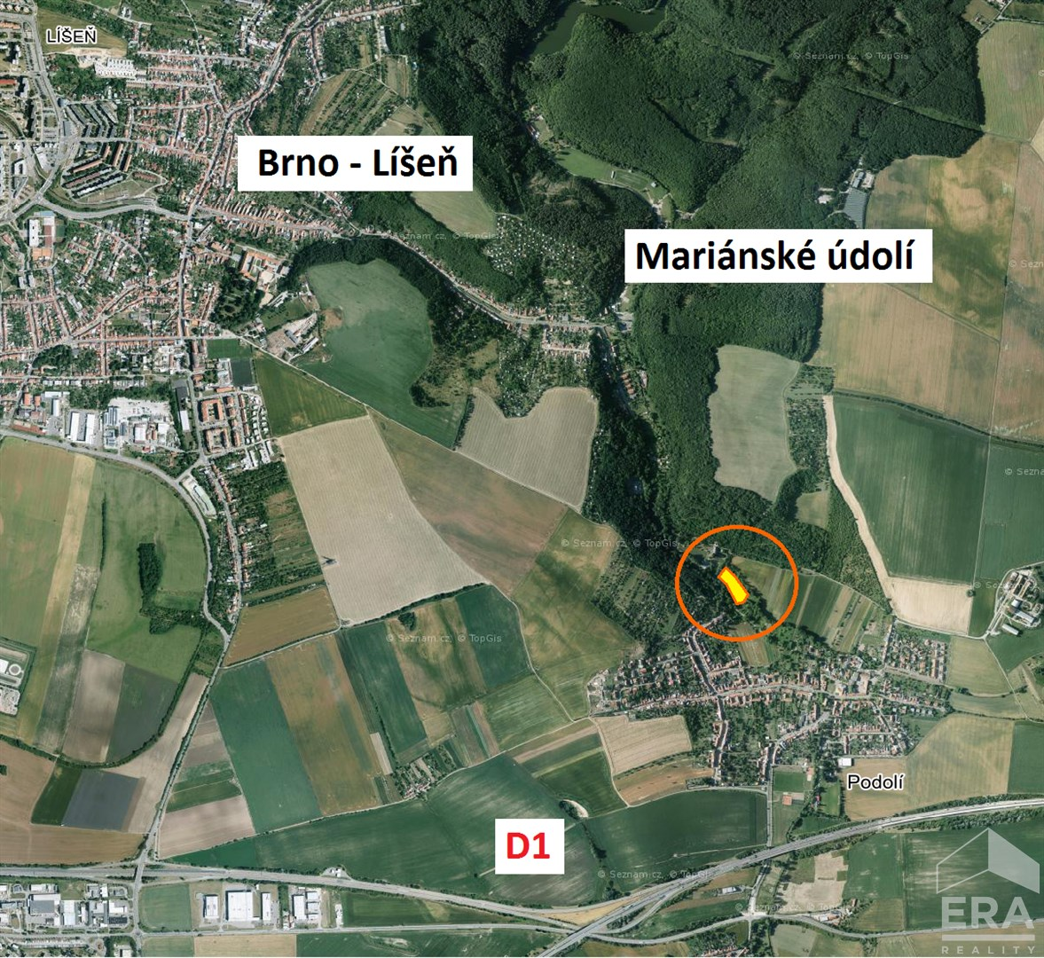 Prodej stavebního pozemku Podolí u Brna