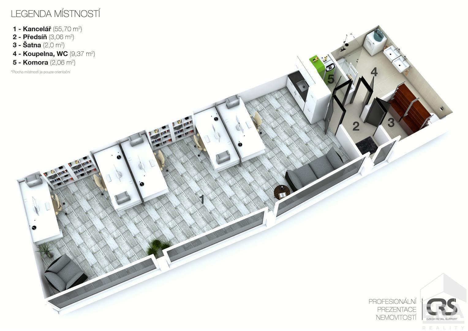 Prodej komerčního prostoru – 72m2, Kuřim